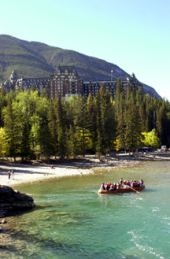 float tour - banff springs hotel in the background